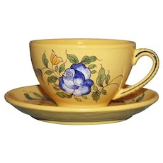Antique Vieux Montpellier French Faience Yellow Cup and Saucer, Blue Rose