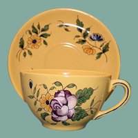 Antique French Faience Vieux Montpellier Yellow Cup & Saucer Rose & Olive