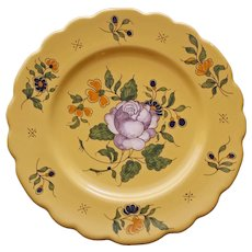 Antique Vieux Montpellier French Faience Yellow Plate, Rose & Olive # 1