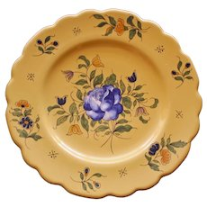 Antique vieux Montpellier Yellow French Faience Hand Painted Plate, Blue Rose #1