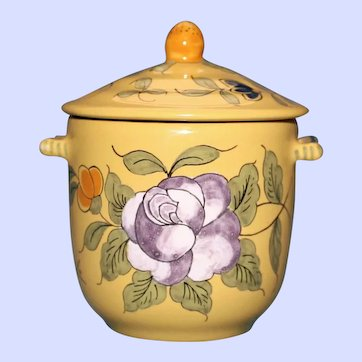 Antique French Faience Yellow Covered Sugar Bowl