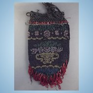 Victorian Micro Bead Drawstring Bag Reticule with Bead Fringe