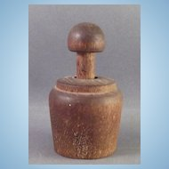 Old Miniature Round Butter Print Stamp with V