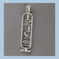 Vintage Carved & Signed Silver Metal Bird & Boot Pendant