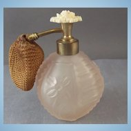 Vintage Irice Pink Frosted Glass Perfume Bottle Atomizer w/ Celluloid Flower Top