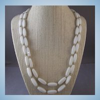 Vintage NAPIER White Glass Rectangular Bead & Goldtone 2 Strand Necklace