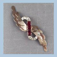 Art Deco Sterling Red Rhinestone Layered Brooch