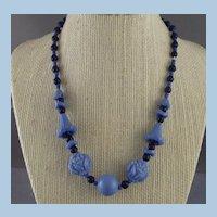 Light Blue & Dark Blue Art Deco Molded Glass Necklace / Rose & Daffodil
