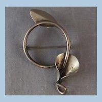 Mid Century Modernist Sterling Brooch / Lily & Leaf