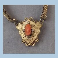 Antique Victorian Gold Filled Coral Carved Cameo on a Mesh Book Chain Necklace