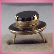 Old Chunky Adjustable Black Glass or Onyx & Enamel Ring / Hat Shaped