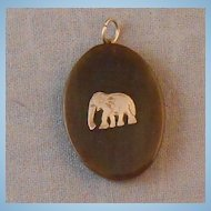 Old Silver Elephant Pique Faux Tortoise Shell Pendant