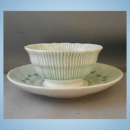 Antique Handpainted White & Green Handleless Cup & Saucer