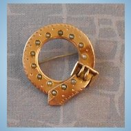 Antique Victorian 9k Yellow Gold Seed Pearl Buckle Brooch