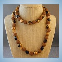 "Vintage Lucite Plastic Brown & Gold Bead 30"" Necklace"