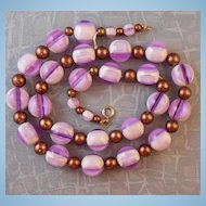 Vintage Amethyst & White Lucite Swirl Gumball Bead Necklace Copper Accent Beads