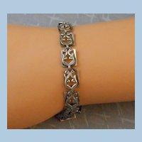 Modernist Danecraft Sterling Link Bracelet Layered Scroll & Leaf Motif