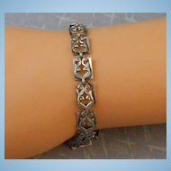 Modernist Danecraft Sterling Link Bracelet Layered Scroll & Leaf Motif