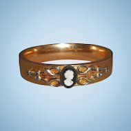 Antique S O Bigney Gold Filled Bangle Bracelet with Faux Cameo