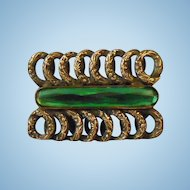 Art Nouveau Paste Brass & Emerald Green Rivoli Glass Brooch C Clasp