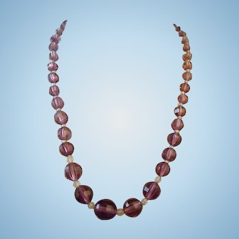 Purple Amethyst Crystal Art Glass Necklace Faceted Beads