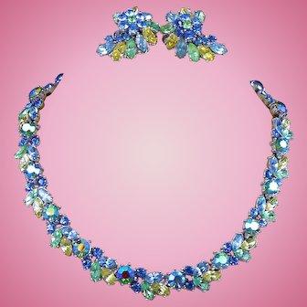 Crown Trifari Parure Pastel Fruit Salad Rhinestone Necklace & Earring Set