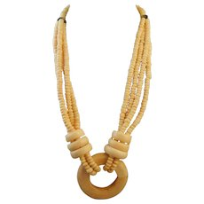 Vintage Carved Faux Bone Multi Strand Necklace Off White Beads Disks Rings