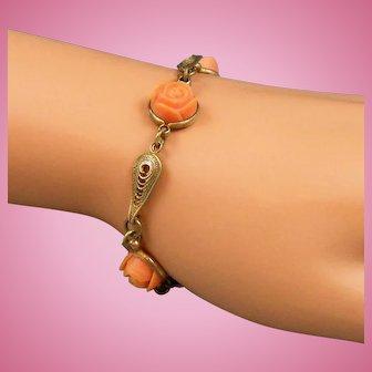 Vintage Carved Coral Colored Celluloid Rose Link Bracelet