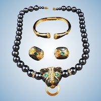 1988 Kenneth Jay Lane KJL 4 Avon Duchess of Windsor Panther Necklace Set Parure