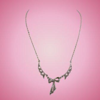 Art Deco Czech Silver Tone Marcasite Necklace Bow Motif