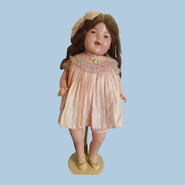 """Vintage 29"""" Large Composition Mama Doll Brown Tin Sleep Eyes Older Clothing Cloth Body"""