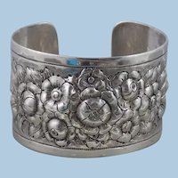 Vintage Heavy Hand Tooled Sterling Silver Large Rose Flower Cuff Bracelet