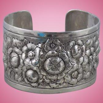 Vintage Heavy Hand Tooled Sterling Silver Large Rose Flower Cuff Bracelet