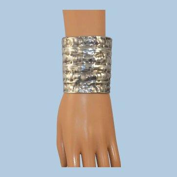 Vintage Sterling Hammered Shaped Wide Cuff Bracelet Signed