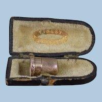 Antique 1881 14k Engraved Gold Thimble in Antique Case