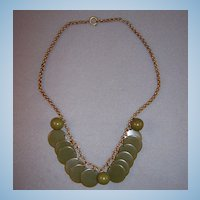 Green Bakelite Disk & Bead Bib Necklace w/ Rollo Chain