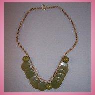 Green Bakelite Disk & Bead Bib Necklace w/ Rollo Chain