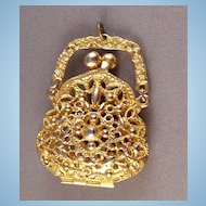 Vintage Goldtone Purse Pocketbook Pendant signed ART