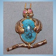 Vintage Turquoise Jelly Belly Owl Brooch with AB Rhinestone Eyes
