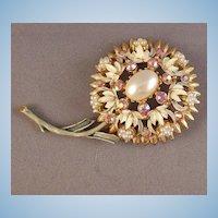 Florenza Faux Pearl & AB Rhinestone Flower Brooch