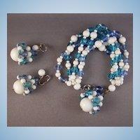 Vintage Marvella Blue & White Glass Bead Bracelet & Earrings