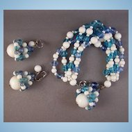 Vintage Marvella Blue & White Glass Bead Bracelet & Earrings