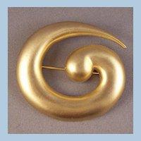 Kenneth Lane Brushed Goldtone Curling Vortex Brooch Book Piece
