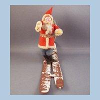 Vintage Paper Mache & Cotton Santa on Skis