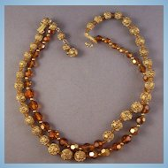 Vintage Marvella Filigree Goldtone & Amber Glass Bead Necklace