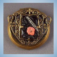 Art Nouveau Influence Black Glass & Marcasite Dress Clip