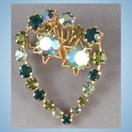 AB & Green Rhinestone Layered Heart Brooch signed Austria