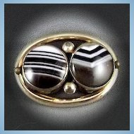 Victorian  Banded Agate Gold Filled Brooch with Tubular Hinge