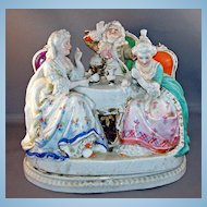 Antique Porcelain Figural Inkwell with Removable Top