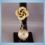 Victorian GF love knot Watch Pin & Crawford Kingston glass covered globular Watch